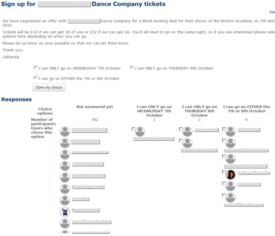 CHOICE used to Sign up for Dance Company tickets screenshot