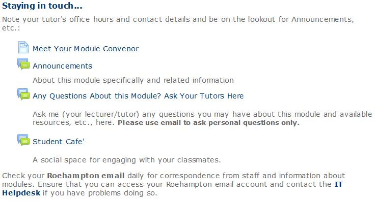 Moodle module site: Staying in touch section screenshot